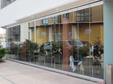 Puertas de Cristal SAP - Cierre de cristal Dorma. Hotel Ciudad de Gijón - Sistemas Automáticos de Paso